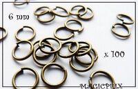M843) LOT de 100 Anneaux de Jonction Ø 6 mm Métal Bronze Antique