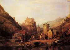 Charming Oil painting landscape church and castle In the middle of the mountains
