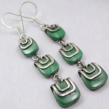 925 Sterling Silver GREEN MALACHITE 3 STONE BIG GORGEOUS Dangle Earrings 5.9 CM
