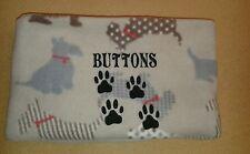 "Personalised fleece dog blanket 39""x29"" in beige with scotty dogs pattern"