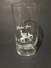 Palisades Motor Lodge Fort Lee New Jersey Drinking Glass Vintage Motorcycle