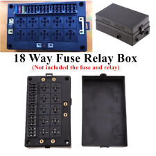 18-way Blade Fuse Holder+10-way Relay Socket Box Case Dust-proof For Auto Marine
