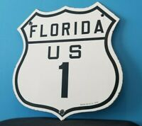 VINTAGE FLORIDA 1 PORCELAIN US AUTO HIGHWAY ROAD DOT SERVICE STATION SIGN