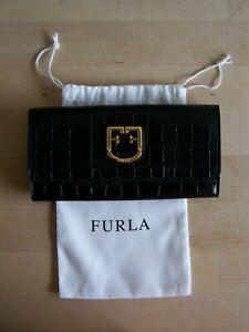 FURLA, Belvedere, edles Lederportemonnaie, Kroko-Prägung, neuwertig ohne Etikett