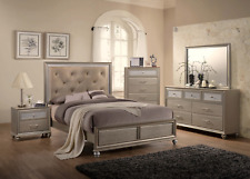 New Champagne Gold Queen or King 5Pc Bedroom Set Modern Furniture Bed/D/M/N/C