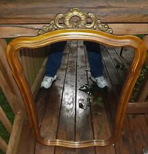 Vintage Carved Wood Framed Wall Mirror Foyer Dresser Chest Hanging Mirror Large