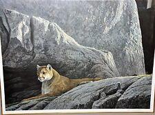 Rocky Wilderness Cougar by Robert Bateman. Professionally Framed, Signed.