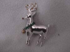 """PRICE REDUCED FOR QUICK SALE--AVON 3"""" DECORATED REINDEER SILVERTONE PIN"""
