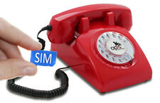 Table Phone OPIS 60s Mobile: Retro/Vintage GSM Telephone/Phone with Dial Red