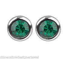 1x Pair of May Birthstone 4mm Emerald Crystal Gem Ear Studs Earrings + gift bag