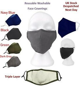 Face Mask With Nose Wire 100% Cotton Washable 3 Layers Filter Pocket Unisex