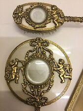 Fabulous  3pc Cherubs Vanity Set Gold Plated Hand Mirror Brush Comb