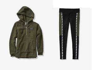 VICTORIA'S SECRET PINK Sherpa Half Zip Hoodie & Fleece Lined Legging Olive XS