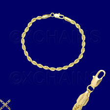 "14K ITALY GOLD PLATED 4mm ROPE CHAIN 7.5"" QUALITY BRACELET GUARANTEED  R4A"