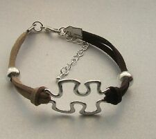 AUTISM AWARENESS BRACELET WITH METAL BEADS ON TWO TONE SUEDE CORD LOBSTER CLASP