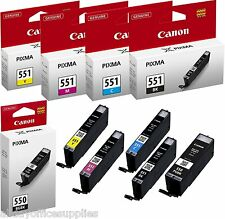 Genuine Canon PGI550BK CLI551BK CLI551C CLI551M CLI551Y Multipack Ink Original