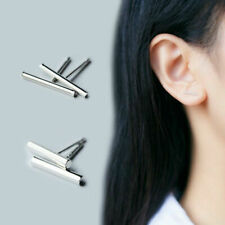 925 Sterling Silver Tiny Round Bar Stud Earrings Minimalist Line Earrings PE18