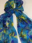 "100% Mulberry Silk Chiffon Scarf - 24x72"" Tropical Blues & Yellow Aussie Crafted"