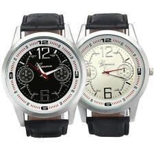 Neu Herren Sport Armbanduhren Leder Analog Quarz Casual Uhren Watch Gift