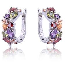 Silver Plated Crystal AAA Cubic Zirconia Rhinestone Huggie Hoop Earrings wedding