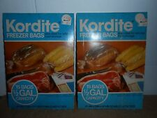 2 VTG 15 CT PACK KORDITE 1/2 GAL FREEZER BAGS W TIES 1978 MOBIL CHEMICAL COMPANY