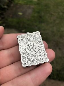 Antique solid silver vinaigrette with flowers - Colen Hewer Cheshire 1897