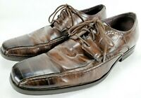 G. Dione Mens Size 10.5 Brown Distressed Lace-up Dress Shoes Loafers