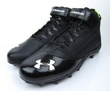 UNDER ARMOUR Man Made Upper Black & Green Football Cleats Shoes Size 17