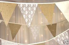 Hessian Wedding Bunting  Calico & Ivory Lace, 10m Rustic, Shabby Chic, burlap
