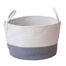Large Storage Basket Cotton Rope Collapsible Woven Bin Laundry Basket Gray S