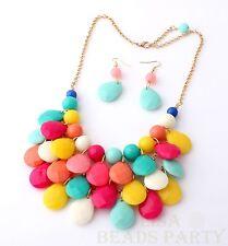 Fashion Jewelry Pendant Teardrop Wave Acrylic Choker Chain Bib NecklaceColorized
