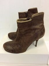 DIESEL BROWN LEATHER STILETTO ANKLE BOOTS SIZE 4/37