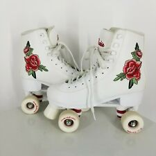 Rookie Roller Skates White Red Embroidered Rose Women US 8 Used Girly Floral