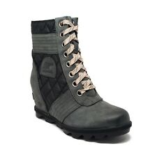 Sorel Lexie Waterproof Wedge Boots in Dark Slate Womens Size 7