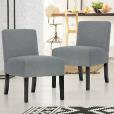 New Set of 2 Modern Design Fabric Armless Accent Dining Chairs w/ Solid Wood Leg