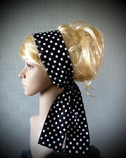 Black and white polka dot hair scarf, retro 50's bandana, spotted mod scarf