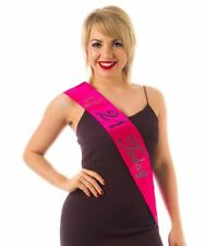 HOT PINK 21st Diamante Happy Birthday Sash 21 TODAY in BLACK Holographic text