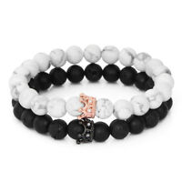 Couple Matte Agate & White Howlite CZ Crown King Queen 8mm Beads Bracelet Set