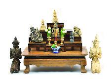 Nice SET of 9 Thai Buddha Buddhist amulet strong Teak Wood Altar Tables worship