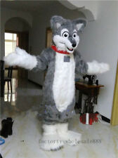 Grey Husky Dog Mascot Costume Wolf Fox Character fursuit Festival Fancy Dress