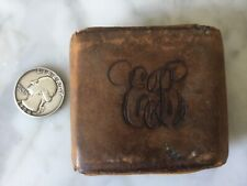 ANTIQUE VTG PIPE TOBACCO POUCH EXPANDABLE METAL FRAME SNAP LEATHER EB COIN PURSE