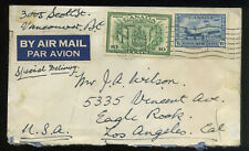 1942 World War Ii Cover Vancouver British Columbia Los Angeles Special Delivery