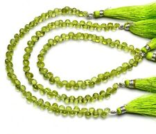 """Natural Gem Arizona Peridot 5MM Approx Size Faceted Onion Shape Beads 8/"""" Strand"""