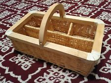"""WICKER SECTIONED BASKET LARGE WOOD HANDLE 18"""" X 10"""" PICNIC STORAGE STURDY"""