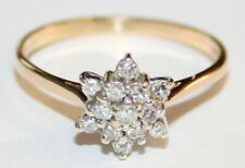 Pretty 9ct Gold Diamond Snowflake Cluster Ring 0.25cts Size O