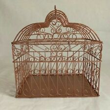 Wedding Gift Card Holder. Whimsical Bird Cage Design in Rose Gold Painted Metal