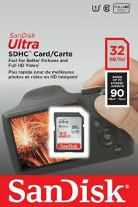 SanDisk 32GB Ultra SDHC SD Card Class 10 UHS-I Memory Card 90MB/S For Camera