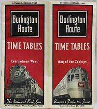 BURLINGTON ROUTE RAILROAD TRAIN TIMETABLE BROCHURE GUIDE 1945 VINTAGE