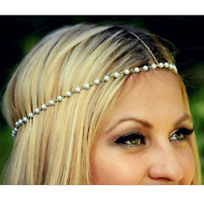 Metal Pearl Bead Head Chain Forehead Headband Bohemian Charm Hair Band Jewelry Z