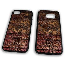 Pink Wood Effect Flower Mandala Henna Tattoo Abstract TPU Phone Case Cover
